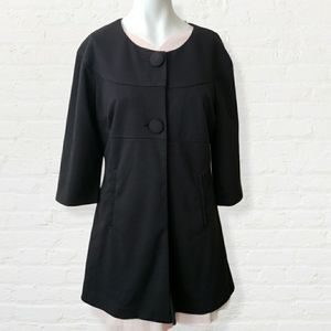 Jessica black fit and flare blazer w large buttons